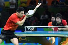 Aug 11, 2016; Rio de Janeiro, Brazil; Long Ma (CHN) in action against Jun Mizutani (JPN) during the men's singles table tennis semifinals in the Rio 2016 Summer Olympic Games at Riocentro - Pavilion 3. Mandatory Credit: Robert Hanashiro-USA TODAY Sports.     -  Best images from Aug. 11 at the Rio Olympics Ma Long, 2016 Rio, Usa Today Sports, Summer Olympics, Olympic Games, Summer 2016, The Man, Basketball Court, Poses
