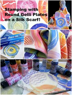 """New blog post and tutorial - a perfect Mother's Day project! bit.ly/1IN4yhy Joan uses the DecoArt Inc. #Sosoft fabric paint and her round Gelli printing plates to stamp on a habotai silk scarf measuring — 14""""x72"""" - with beautiful results! Full tutorial: bit.ly/1IN4yhy"""