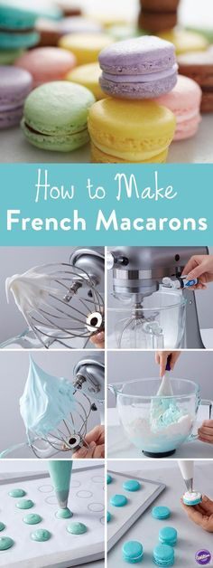 Macaron Cookies How to Make French Macaroons . Learn how to make French Macaroon cookies with our…How to Make French Macaroons . Learn how to make French Macaroon cookies with our… Baking Recipes, Cookie Recipes, Dessert Recipes, Yummy Treats, Sweet Treats, Yummy Food, Sweet Cookies, French Cookies, Baby Cookies