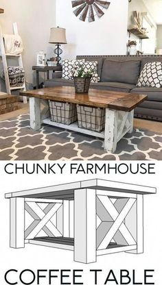 DIY Farmhouse Coffee Table perfect for the Home Living Room - Free Woodworking p. - DIY Farmhouse Coffee Table perfect for the Home Living Room – Free Woodworking plans Diy Furniture Plans, Farmhouse Furniture, Furniture Makeover, Table Furniture, Diy Living Room Furniture, Farmhouse Living Room Decor, Rustic Living Room Furniture, Shaker Furniture, Diy Living Room Decor