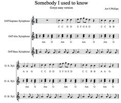 "Awesome arrangement for ""somebody i used to know"" for orff accompaniment! Buchanan Music"