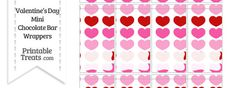 Red and Pink Hearts Mini Chocolate Bar Wrappers