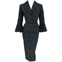 1940's Lilli Ann Flecked Black Wool Pleated-Sleeves Wiggle Suit at... ❤ liked on Polyvore