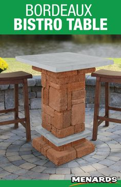 The Bordeaux bistro table is a great place to enjoy a meal or set down your drinks while chatting with friends and family! This project is easy to build and requires no cutting! Landscape Materials, She Sheds, Building Materials, Great Places, Bordeaux, Landscaping, Meal, Yard, Drinks