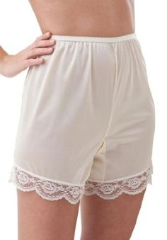 Woman Within Plus Size Slip shorts with lace detail Comfort Choice