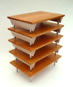 Bespoke hi fi stand hand made in cherry and lacewood with stainless steel detail Hifi Stand, Audio Stand, Speaker Stands, Tv Rack, Audio Rack, Stereo Cabinet, Speaker Design, Closet Doors, David Ames