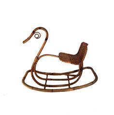 Victorian Style Childs Rocking Horse. Antique Rocker. Bamboo Rattan Swan Rocking Horse.