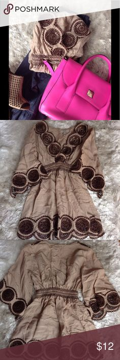 Scallop Detailed Blouse Beautiful Tan blouse with dark brown embroidered details. Excellent condition. Like new. Thin and cool material. 85% rayon 15% nylon. 👜OFFERS WELCOME👜NO TRADES👜 bloom season Tops Blouses