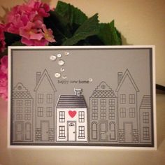 New home card using the Holiday Home stamp set and framelits from Stampin' Up! xx