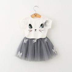 Novo Líder Urso Conjuntos de Roupas Meninas de Verão Estilo Moda Gatinho Dos Desenhos Animados Impresso T-Shirts + Véu Líquido Vestido 2 Pcs Define Girls Roupas