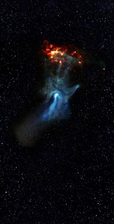 The 'Hand of God' Nebula - Cosmic Hand Reaches for the Light. The blue hand-like structure was created by energy emanating from the nebula around the dying star PSR B1509-58.
