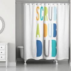 Mack & Milo Nikesia Scrub a Dub Single Shower Curtain Color: Orange Little Boy Bathroom, Boy Girl Bathrooms, Boys Bathroom Decor, Childrens Bathroom, Shared Bathroom, Bathroom Tray, Silver Bathroom, Navy Bathroom, Brown Bathroom