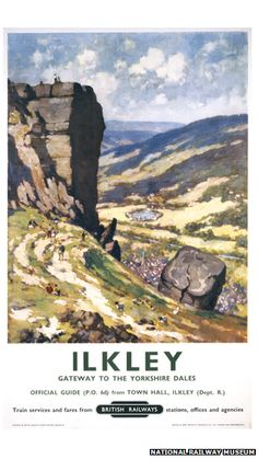 Vintage travel poster produced for British Railways BR to promote rail travel to Ilkley West Yorkshire which is here promoted as the gateway to the Posters Uk, Train Posters, Railway Posters, British Railways, British Isles, British Travel, Travel Uk, National Railway Museum, Yorkshire Dales