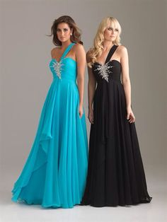 Matching prom dresses for you and your best friend!!! Blue for me black for Caitlin