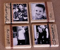 Decorating tiles isnt a new concept, but I liked how these turned out. I used modge podge, my own photos, ribbon, rubons and a matte spray. Photo Tile Coasters, Picture Coasters, Craft Projects, Projects To Try, Craft Ideas, Unique Gifts, Great Gifts, Photo Tiles, Personalized Coasters