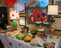 Dr. Suess themed baby shower, even though i love the dots on the white table cloth