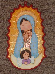 virgen en mdf (madeiras) macamno1@hotmail.com Arte Country, Pintura Country, Foam Crafts, Diy Crafts, Baptism Themes, Moldes Para Baby Shower, Seasons Months, Pallet Art, Blessed Mother