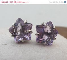 Sale Amethyst Studs- Star Earrings- Star Studs- February Birthstone Studs- Gemstone Studs- Purple Studs- Stone Post Earring- Purple Amethyst