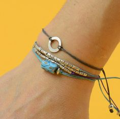 Beautiful set of boho stackable bracelets. Could probably figure out how to make most of these! :)