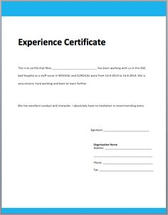 Job Experience Certificate Format Job Experience