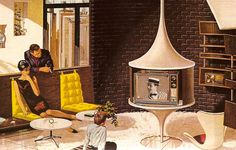 Mad for Mid-Century: Mid-Century Modern Home Image with tulip style tv stand - 1960's Motorola ad