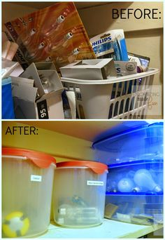 Before And After For Lightbulb Organization :: OrganizingMadeFun.com