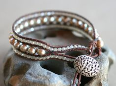 Champagne Freshwater Pearl Leather Wrap Cuff Handmade by MindyG - $80
