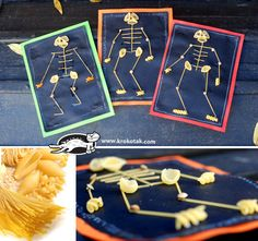halloween diy kids craftsSPAGHETTI – skeleton