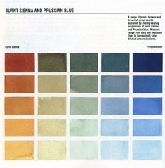 Color mixing tips: Burnt Sienna and Prussian Blue