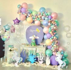 When all the elements come together to bring a little girls magical world come alive for her birthday ✨ ✨ ✨ 🦄Custom backdrop and scenery 🎂Cake 🎈 ✨ ✨ ✨ Mermaid Birthday, Unicorn Birthday Parties, Unicorn Party, First Birthday Parties, Girl Birthday, Birthday Ideas, Balloon Decorations, Birthday Party Decorations, Party Themes