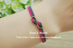 Bronze Infinite Bracelet Deep pink and dark gray rope by Evanworld, $0.99 Retro personalized homemade bracelet, the best gift of friendship.