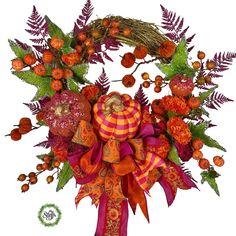 Pink fall wreath with pink orange plaid pumpkin | Etsy Small Pumpkins, How To Make Wreaths, Autumn, Fall, Fabric Covered, Grapevine Wreath, Grape Vines, Christmas Wreaths, Plaid