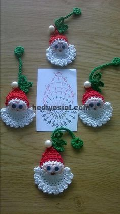 Image detail for -Santa Crochet Doily Centrinho Papai Noel 4 pinkrosecrochet. Crochet Christmas Decorations, Christmas Crochet Patterns, Crochet Ornaments, Holiday Crochet, Crochet Snowflakes, Crochet Crafts, Crochet Projects, Christmas Applique, Diy Projects