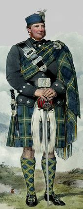 Donald Gordon wearing a plaid and kilt of Gordon tartan. His sword is inscribed Andrea de Ferrara, the name of a sword maker from Belluno in Italy, many of whose swords came to Scotland. The painting was exhibited in the Royal Scottish Academy 1870.