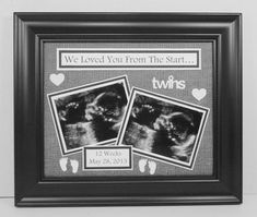 Twins Ultrasound Frame - Personalized With Sonogram Date - Love At First Sight / Any Message - Unframed Insert Mat for 8x10 Frame on Etsy, $20.00