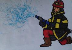 Blussende brandweerman (Waterverf uitblazen met een rietje)of op verfbord met rode en gele verf