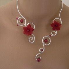 Collier 1' bordeaux/rouge/argenté, alu p robe de mariée/mariage/soirée fleur/perles (pas cher)
