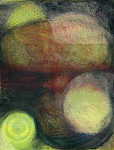 The Old Cells Studio - Michèle Brown Art: Emerging light from the darkness - three monoprints/paintings