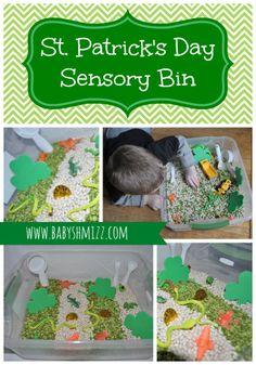 St. Patrick's Day Sensory Bin via @BabyShmizz