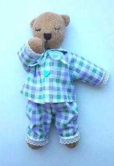 Teddy bear is sleeping.