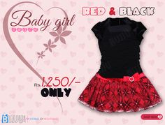 Buy this red frock now for good price.......  Product Name:Red and Black Velvet Organza Kids Frock  Product Code:GLOA90K001 Retail Price:Rs.1,250/- See more at:http://bit.ly/1cxgMRc