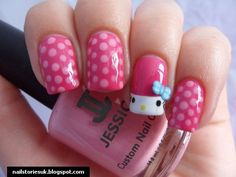 Nail Art ~ Hello Kitty and pink polka dots.
