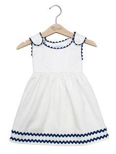 Ric Rac Pique Dress von Princess Linens in Gilt – Baby Kleidung Kids Frocks, Frocks For Girls, Little Dresses, Little Girl Dresses, Baby Dresses, Girls Dresses, Anchor Dress, Baby Dress Design, Baby Frocks Designs