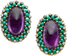 Amethyst, Diamond, Turquoise, Gold Earrings, French.