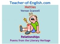 English Teaching Resources: Nettles (Vernon Scannell) - Poems from the Literary Heritage : Relationships. A 41 slide Powerpoint analysis of the poem Nettles by Vernon Scannell (GCSE English 2010 Poems from the Literary Heritage) and an accompanying worksheet booklet.