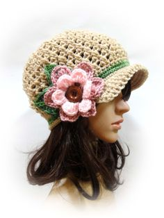 Crochet Newsboy Cap. 44 colors. Flower with wooden button and leaves. Beanie. Women's Hat. Warm Winter Accessory.