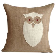 Eco-friendly burlap pillow with an owl motif and feather-down fill. Made in the USA.  Product: PillowConstruction Ma...