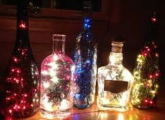 antique glass bottle lighting - Google Search
