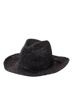 Womens Pinched Crown Fedora Crochet Raffia