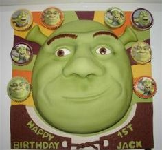 Ok Shrek Fans if you are planning a Shrek Birthday Party Theme you may need some fun ideas and inspiration to help you create a Shrek Birthday Cake or even Shrek Cupcakes for your party. Being the new Shrek Forever After Movie will be in theaters. Shrek Cake, Happy 1st Birthdays, Cake Gallery, Cake Decorating Tips, Party Cakes, Party Party, Party Time, Party Accessories, Cupcake Cakes